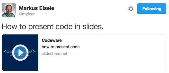 @myfear - How to present code in slides