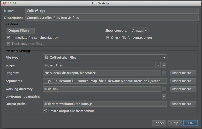 CoffeeScriptRedux configuration