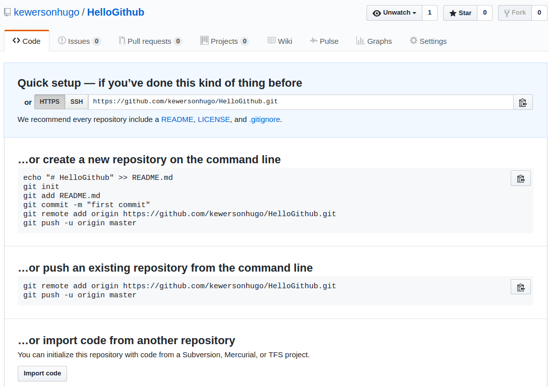 Quick Start do Github para o novo repositório