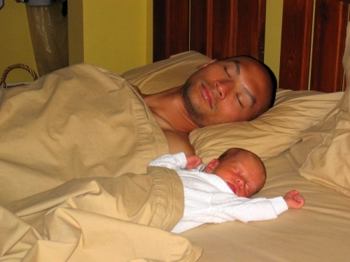 Dad and and son sleeping