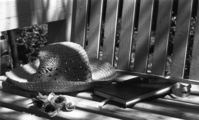 Journal and hat on bench, photo by Sue Anna Joe