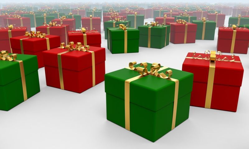 Red and green gift boxes