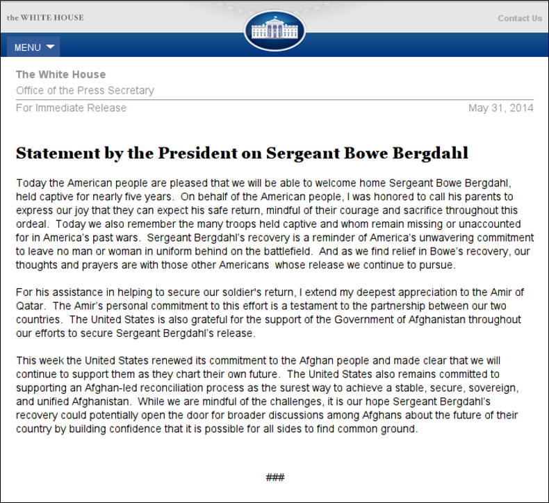 White House Statement on Sergeant Bowe Bergdahl