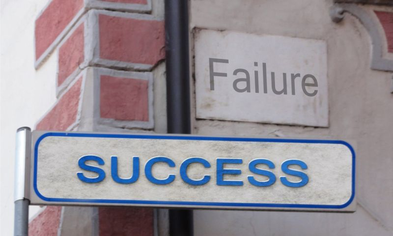Street signs labelled Failure and Success