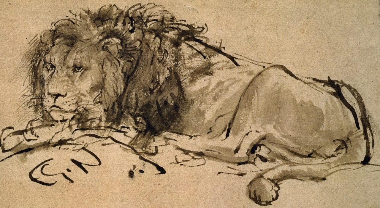 Rembrandt-a-lion-lying-down-207063_detail_large