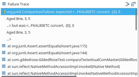 JUnit Failure Trace