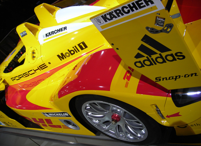 Race car with corporate logos
