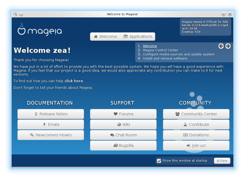 Mageia 4 welcome screen