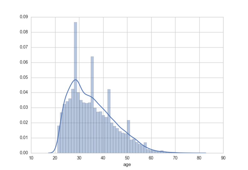 Age Histogram for Credit Dataset