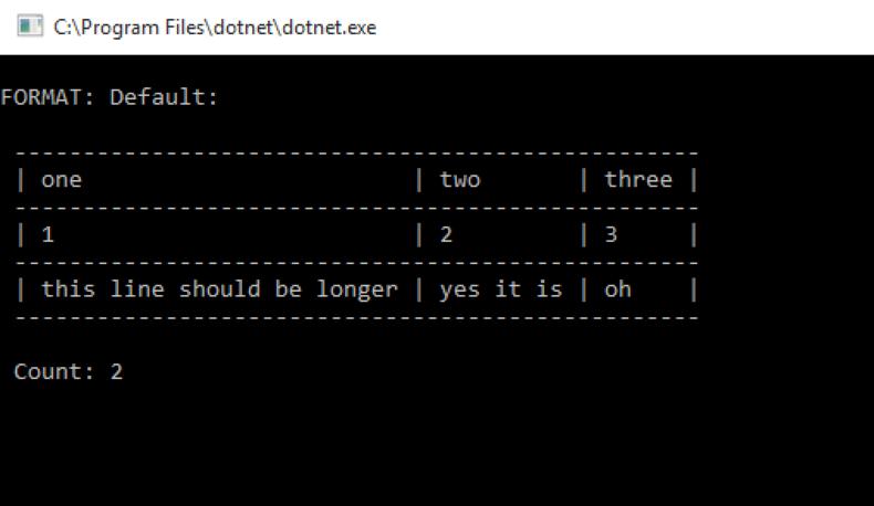 dotnet running consoletables