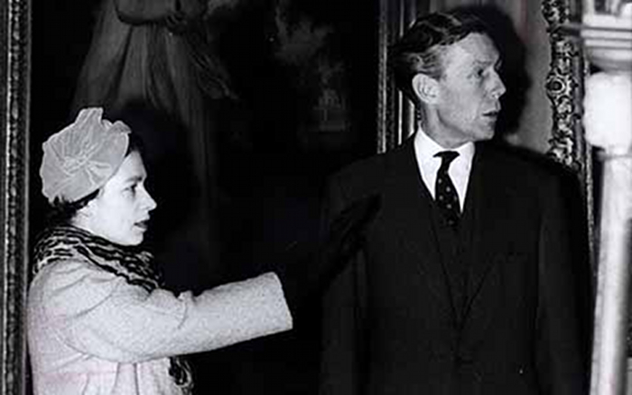 Anthony Blunt with Queen Elizabeth IIas Art surveyor