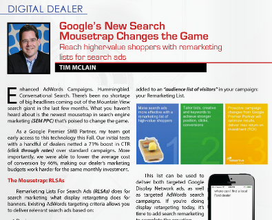Google remarketing lists for search ads RLSAs for digital auto dealers