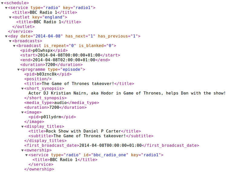 Screenshot of XML representing the BBC Radio 1 schedule