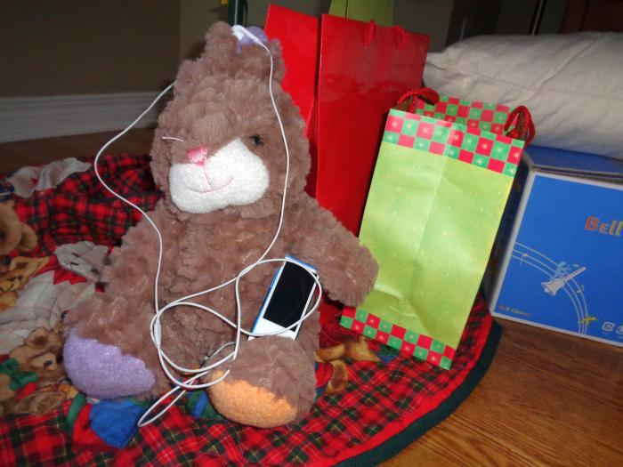 Fuzzy Bunny with iPod