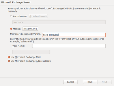 Step 7c Microsoft Exchange EWS URL
