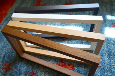 Sustainably harvested maple and walnut profiles in four finishes.<br>