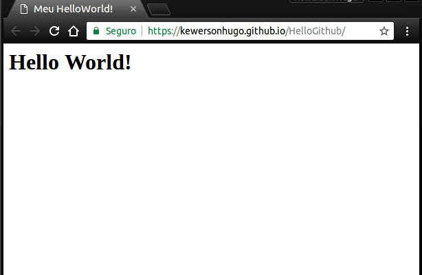 HelloWorld funcionando no Github Pages