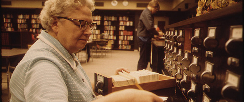 Librarian at the Card Files at Senior High School in New Ulm Minnesota