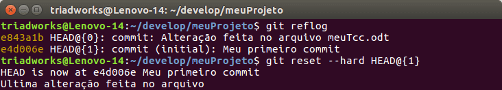 Git reset para o commit anterior