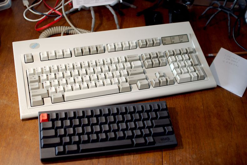 IBM Model M and HHKB Pro II side by side
