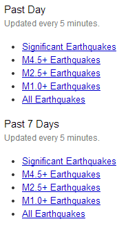 Links for earthquake data feeds